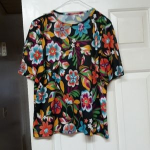 Floral print polyester top XL